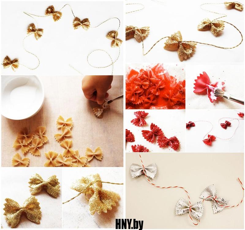 Новогодняя гирлянда из макарон: украшаем елку подручными материалами