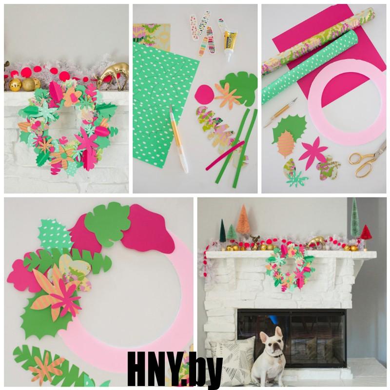 Венок из цветной бумаги для гавайской вечеринки