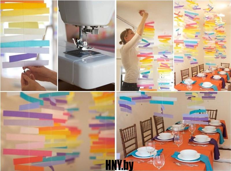 Новогодняя гирлянда из бумажных полосок: делаем гирлянду из цветной бумаги
