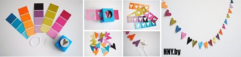 Простая новогодняя гирлянда из бумажных сердечек своими руками
