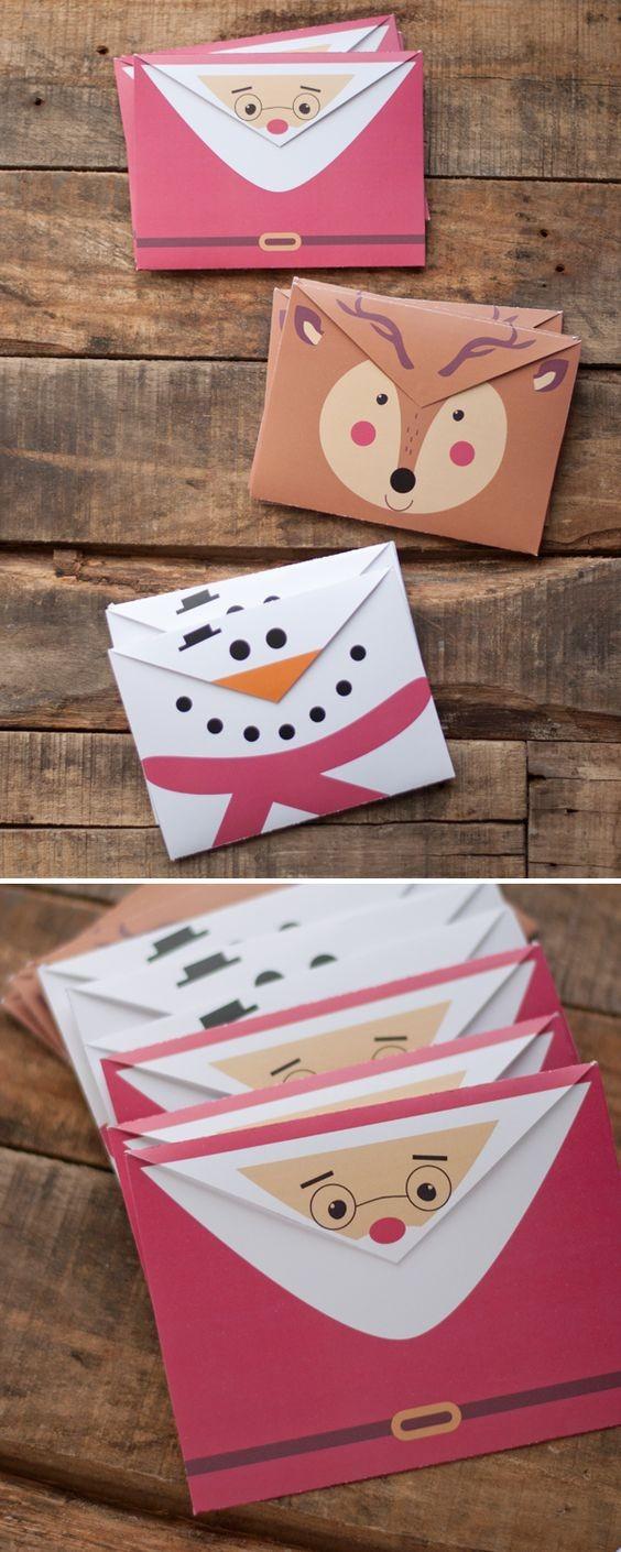 Новогодняя упаковка-конверт: Санта, олени, снеговик