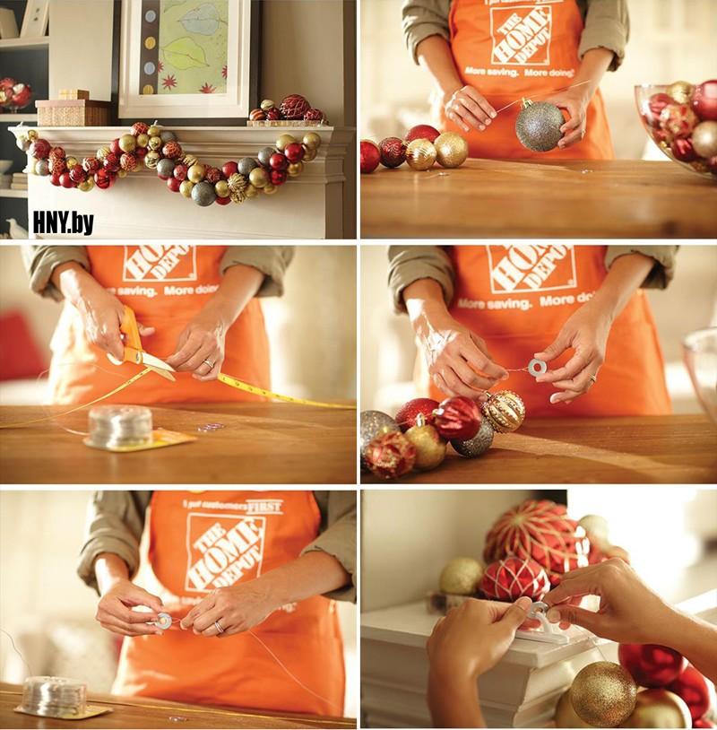 МК Новогодняя гирлянда из шаров: делаем своими руками