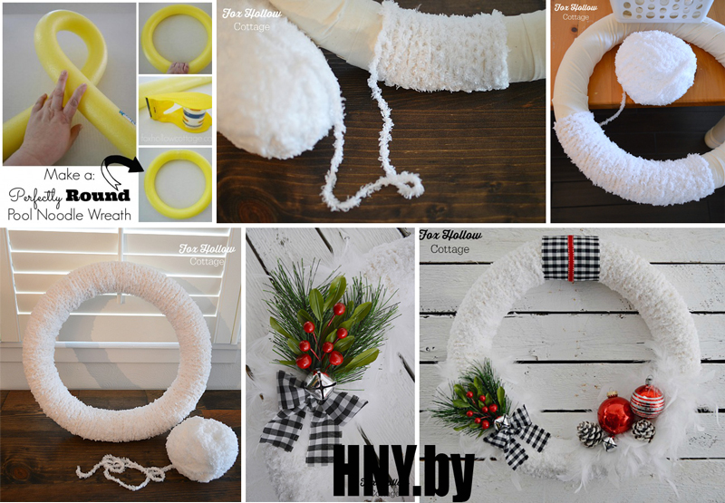 Новогодний венок из ниток пошагово: декорируем интерьер к празднику