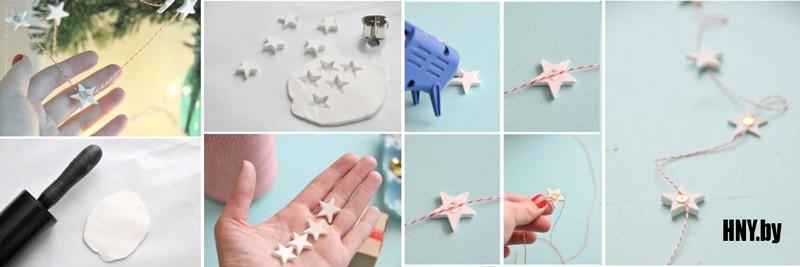 Новогодняя гирлянда своими руками из соленого теста: делаем украшения из подручных материалов