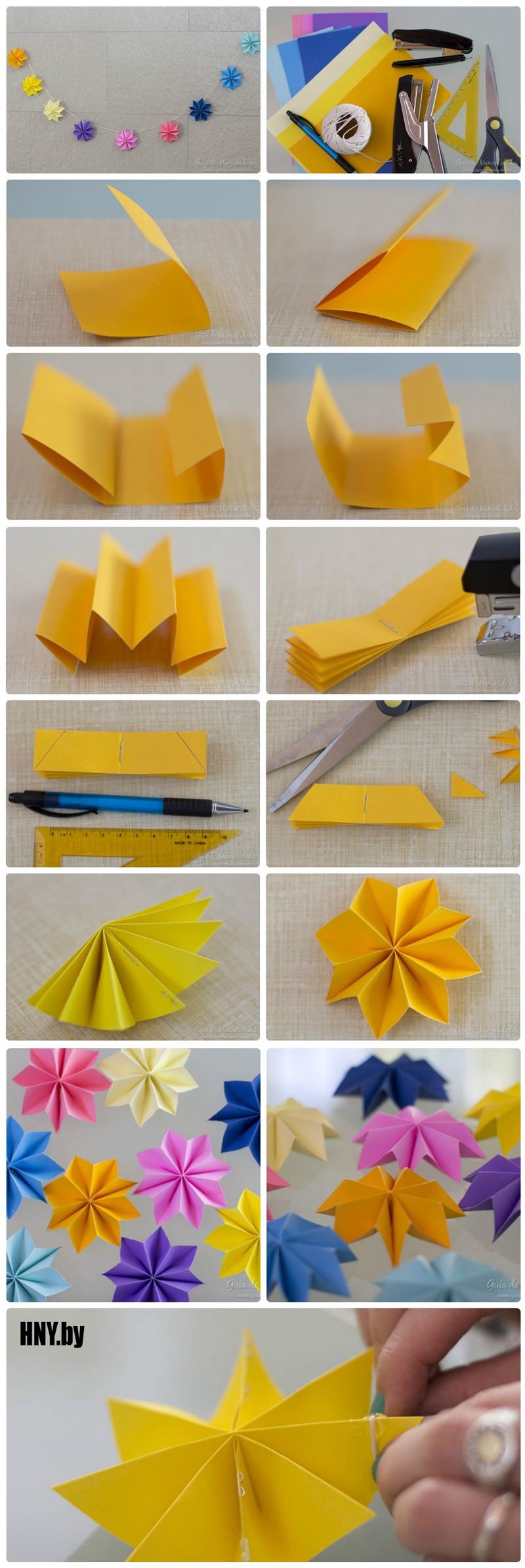 Оригами гирлянда на новый год: украшаем дом своими руками