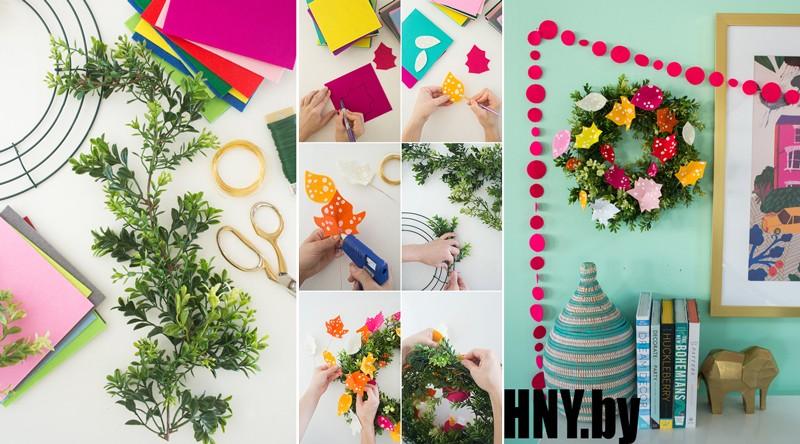 МК: новогодний венок из листьев и бумаги пошагово