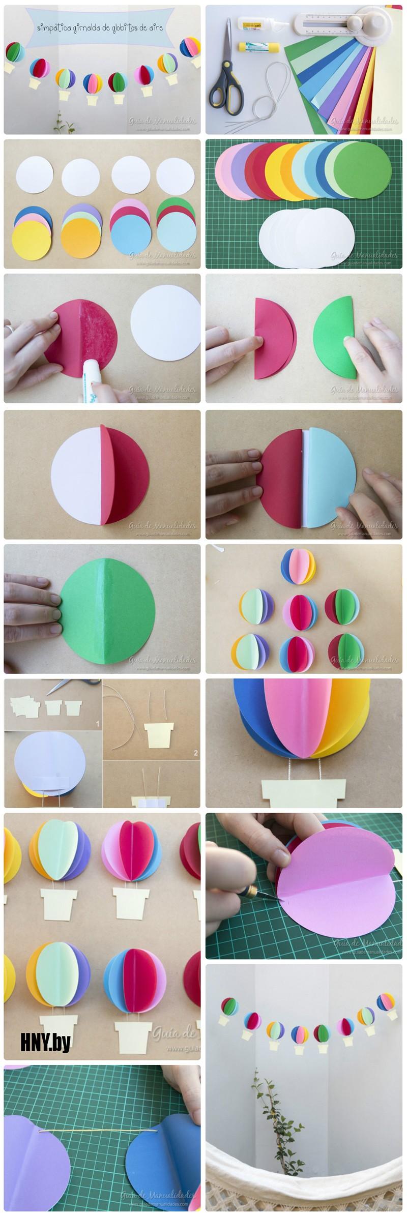 Еще один вариант использования объемных бумажных шаров в изготовлении новогодней гирлянды своими руками