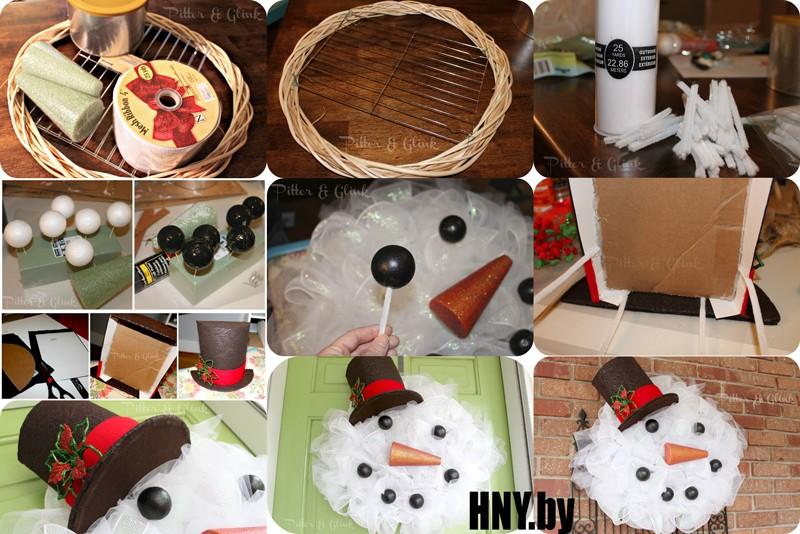 Рождественский венок-снеговик. Мастер класс по изготовлению необычного рождественского венка своими руками