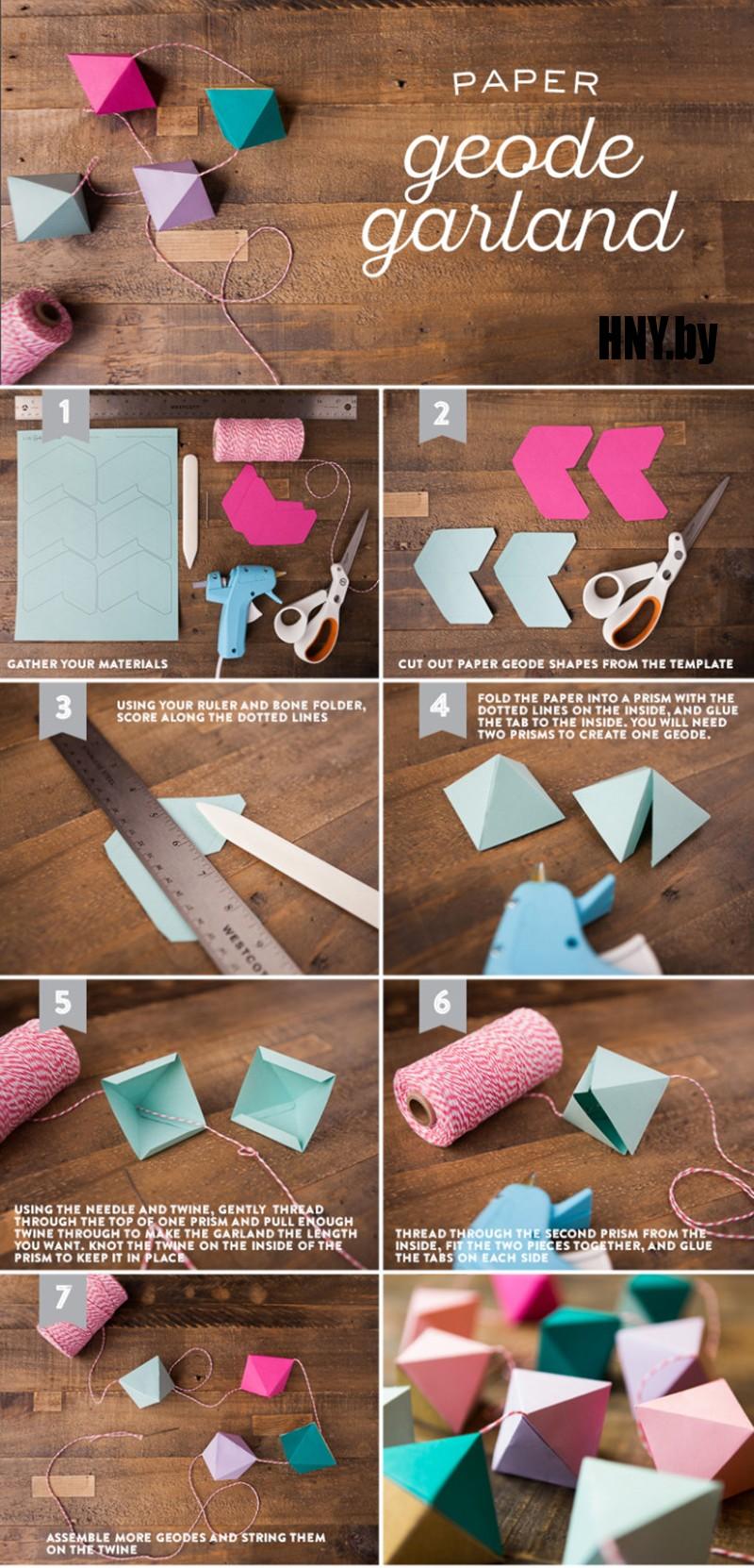 Новогодняя гирлянда оригами своими руками пошагово