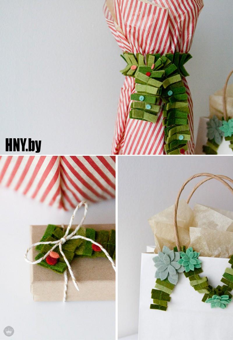 Декорируем новогодние подарки гирляндами из фетра
