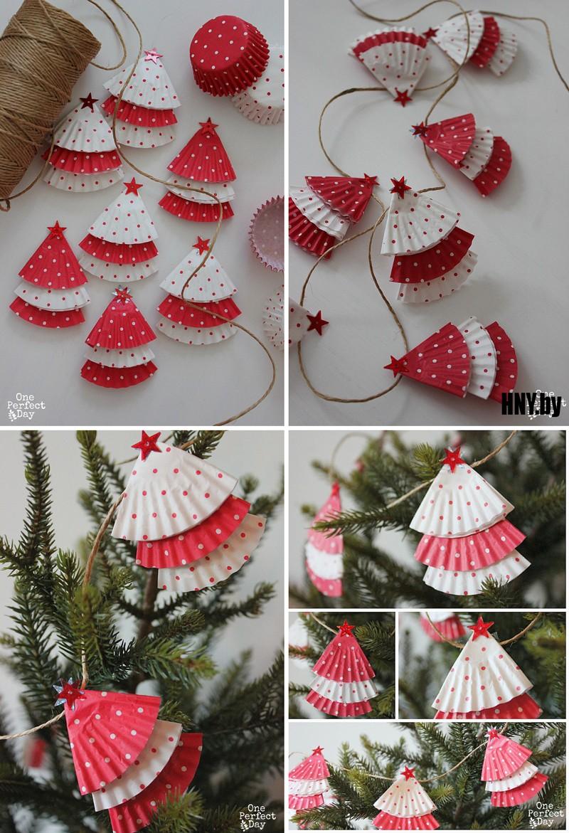 Новогодняя гирлянда из оберток для конфет в виде елочек: украшаем елку своими руками
