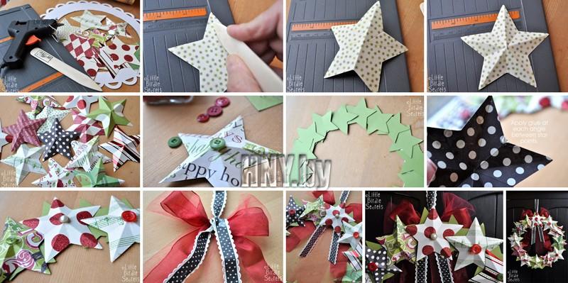 Новогодний венок из бумажных звезд своими руками. Мастер класс по изготовлению
