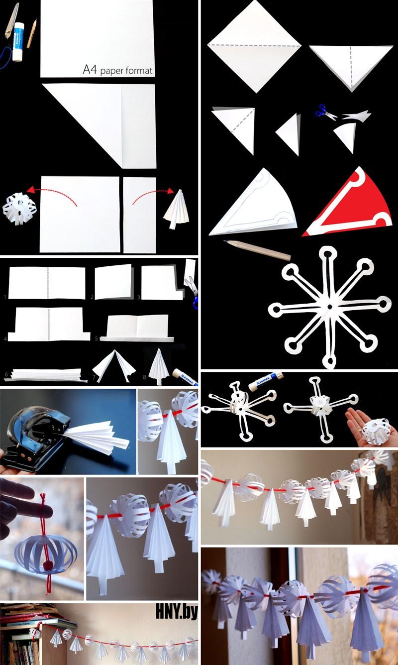 Гирлянда оригами на новый год: елки и шары из бумаги