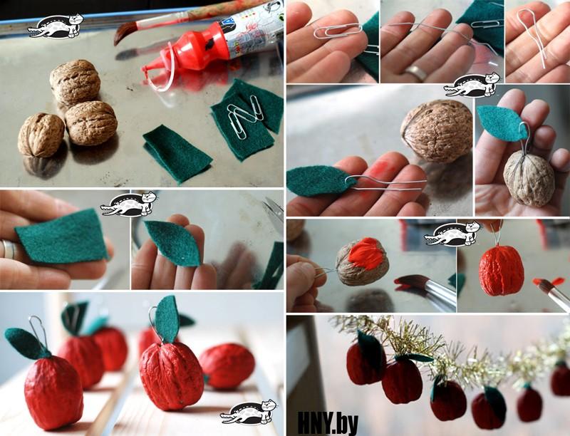Гирлянда на новый год из грецких орехов: пошаговая инструкция