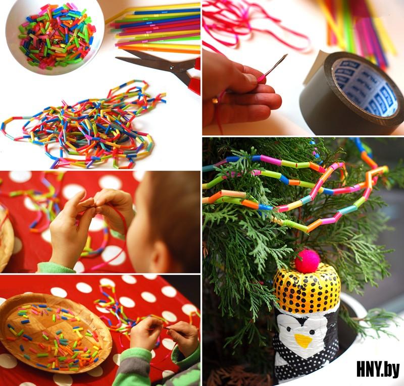 И еще один вариант новогодней гирлянды из трубочек: делаем гирлянду из подручных материалов