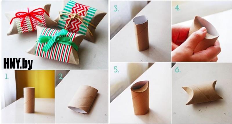 Новогодняя коробочка из цилиндра от туалетной бумаги