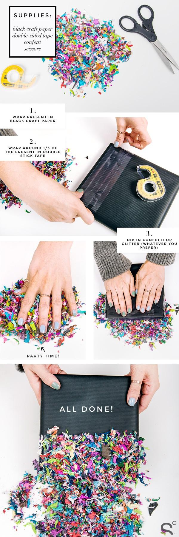 Новогодняя упаковка своими руками из конфетти