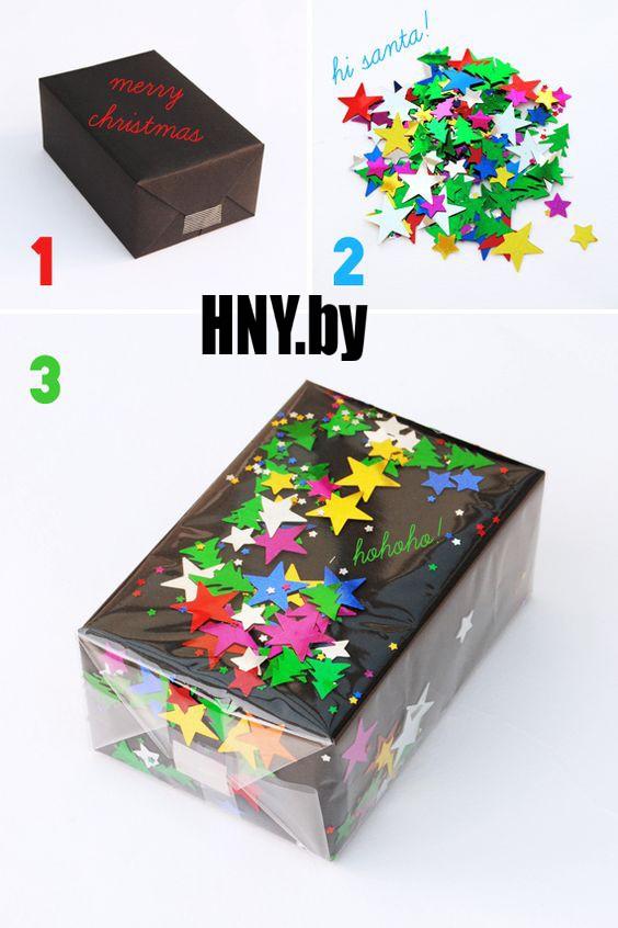 Новогодняя упаковка, декорированная звездами и елочками