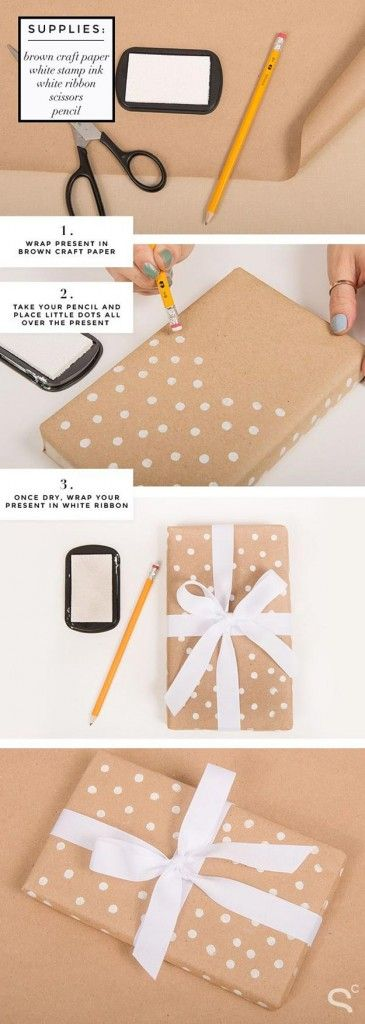 Новогодняя упаковка из крафт бумаги, краски и ленты