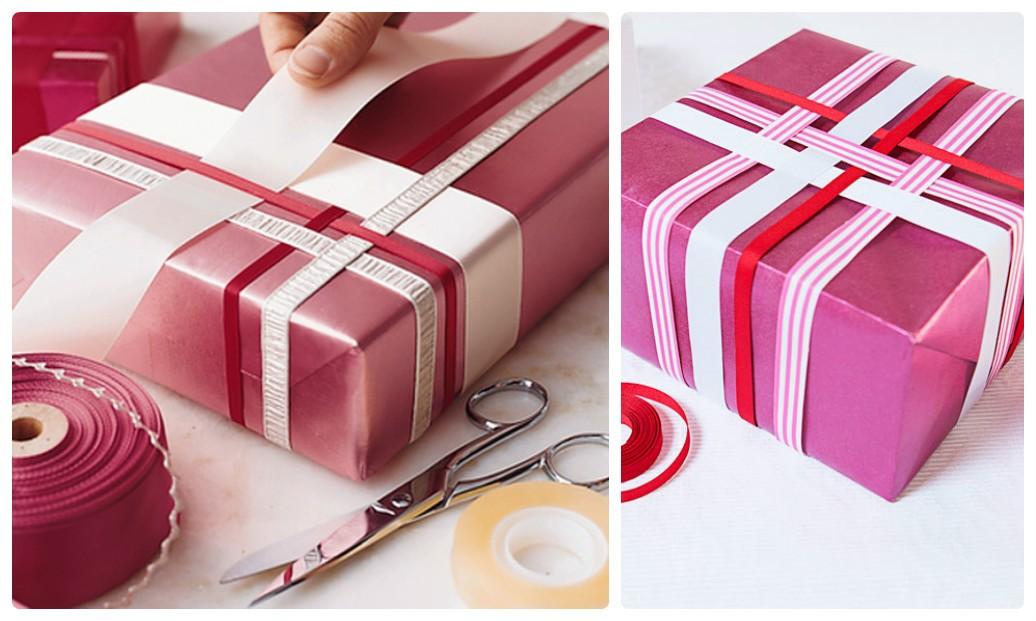 Оригинальная упаковка новогодних подарков переплетением лент