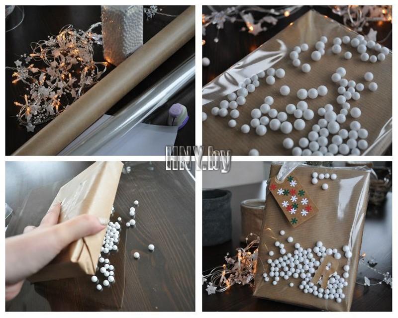 Упаковка новогодних подарков своими руками: декорируем подарки пенопластовыми шариками