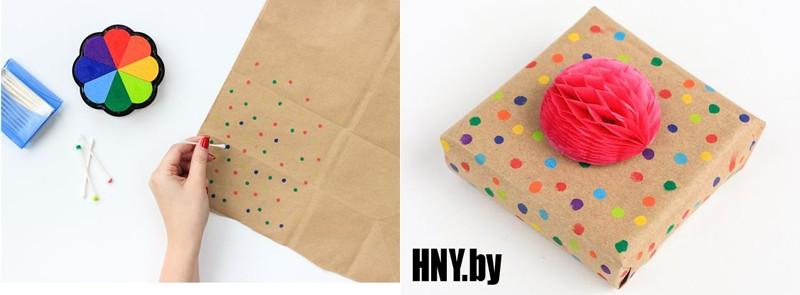 Новогодняя упаковка своими руками: крафт бумага и краски