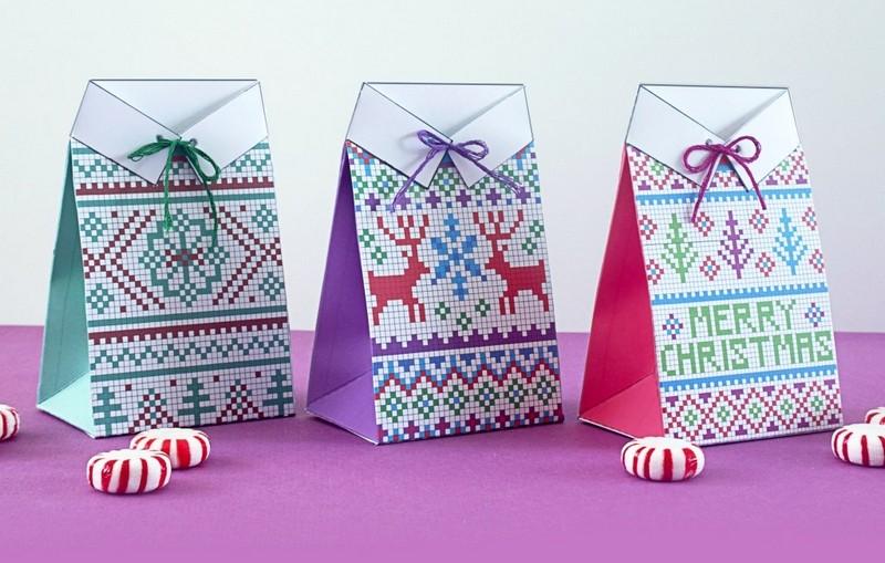 "Коробочка для подарка своими руками ""Новогодний свитер"". Схема"