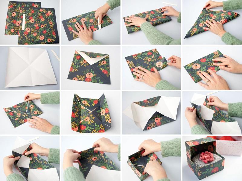 Коробочка своими руками с крышкой, выполненная в технике оригами