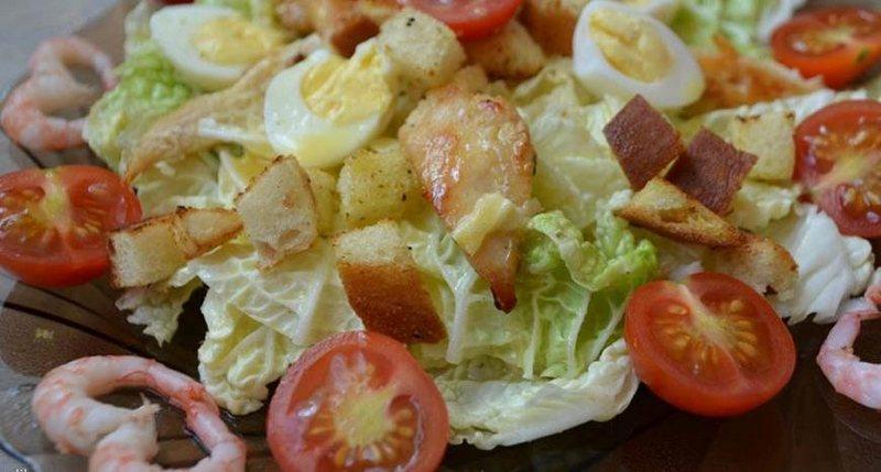 Рецепт цезарь с курицей и креветками