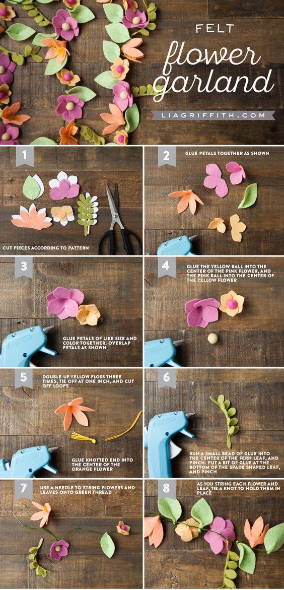 Новогодняя гирлянда из цветов: делаем украшения своими руками