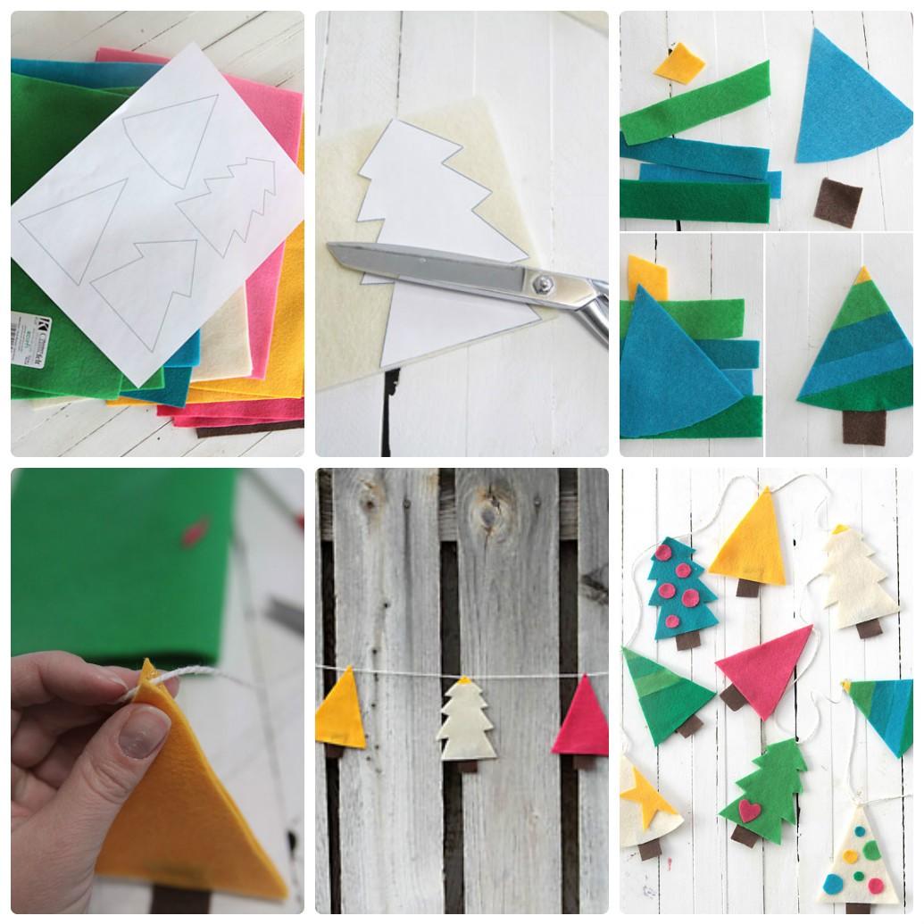 Гирлянда из фетра на новый год: делаем елочки своими руками