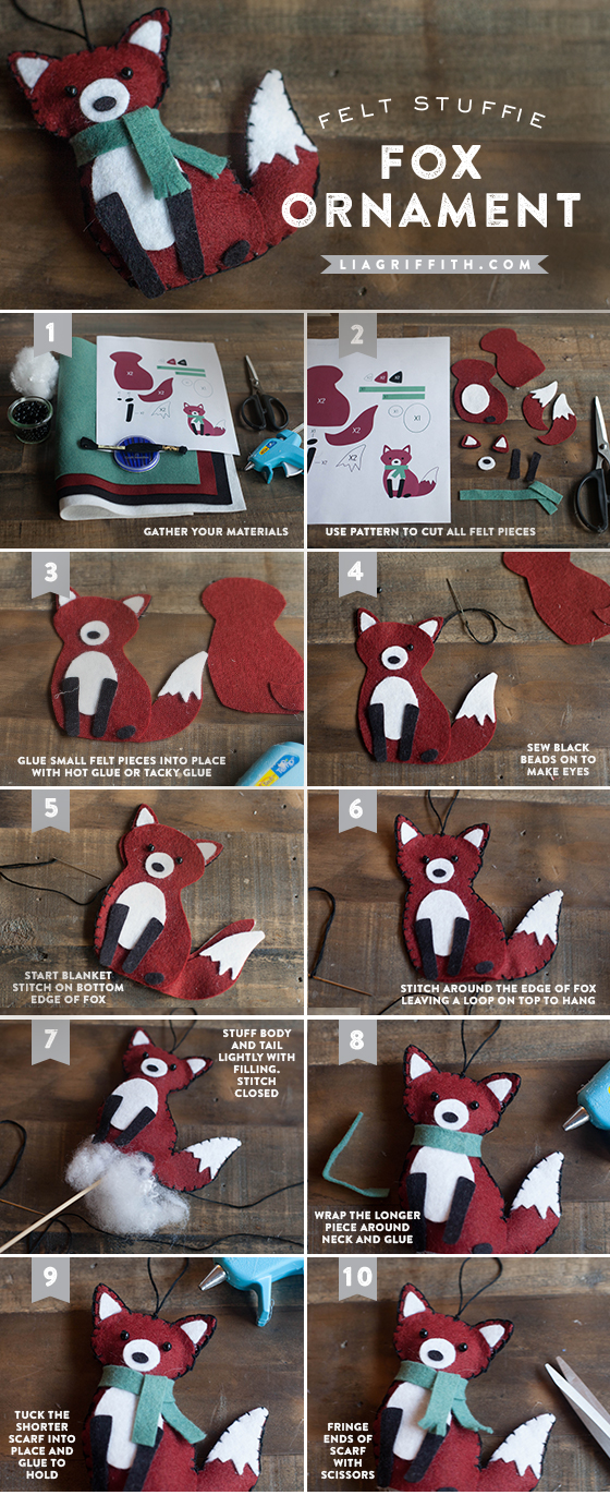 Новогодняя игрушка из фетра Лиса - пошаговый мастер класс с выкройкой