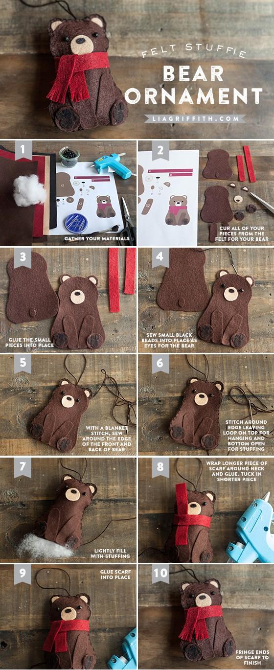 Новогодняя игрушка из фетра Медведь - пошаговый мастер класс с выкройкой