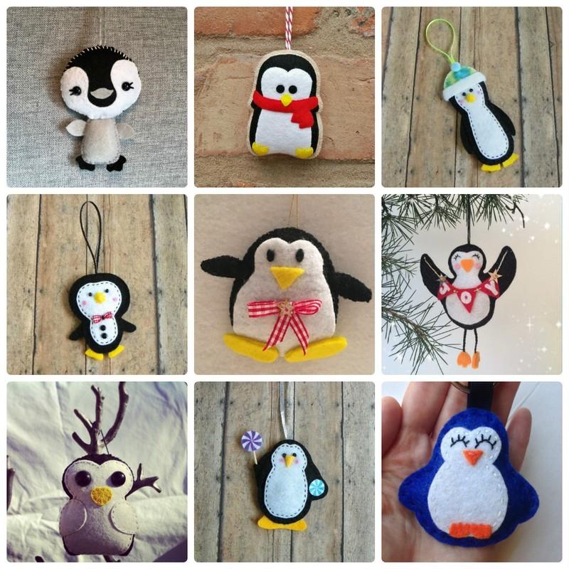 Елочные игрушки из фетра Пингвин: схемы, выкройки, шаблоны, мастер классы