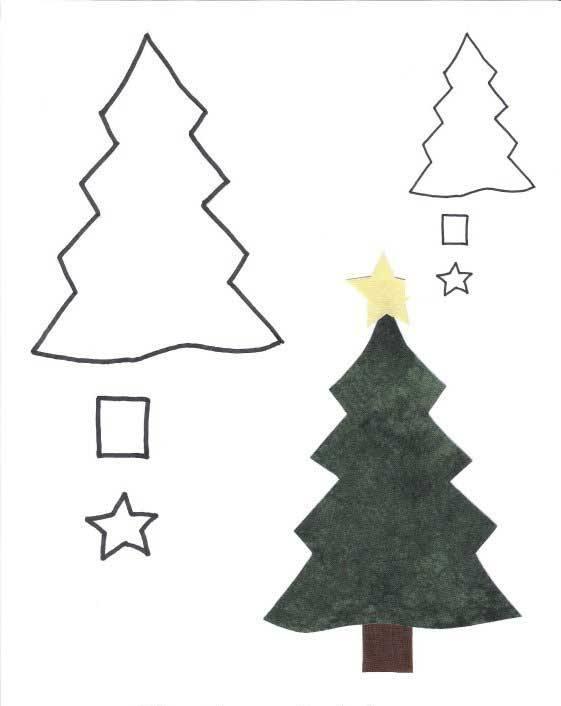 аппликация елки из цветной бумаги шаблоны видим