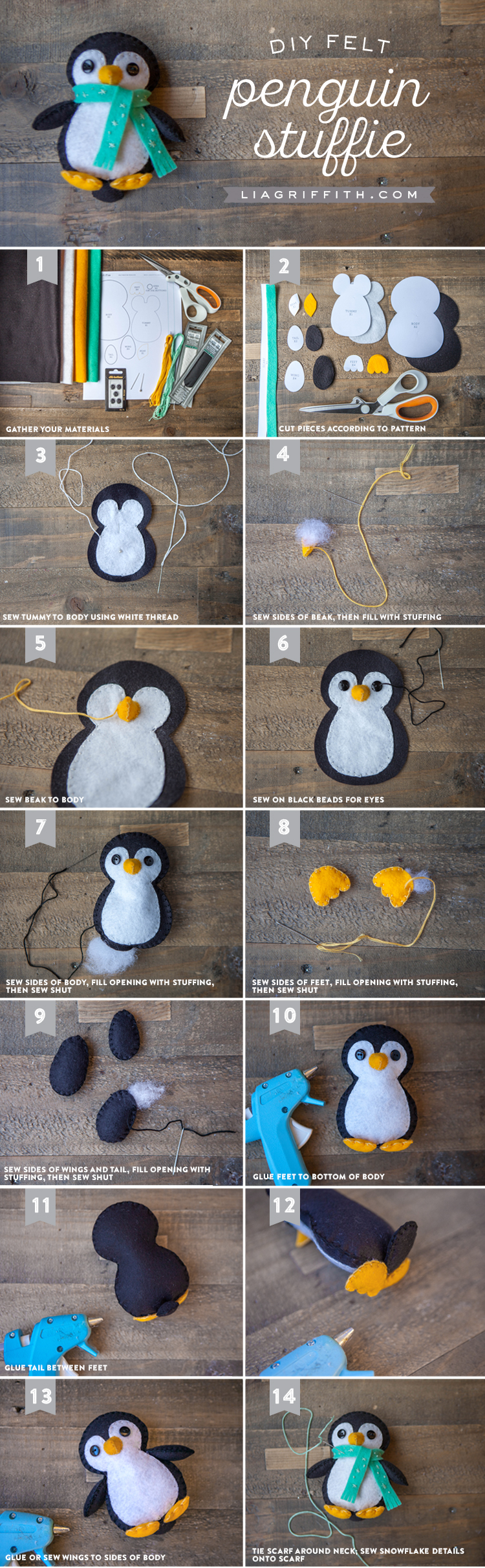 Пингвин из фетра, новогодние игрушки своими руками пошагово