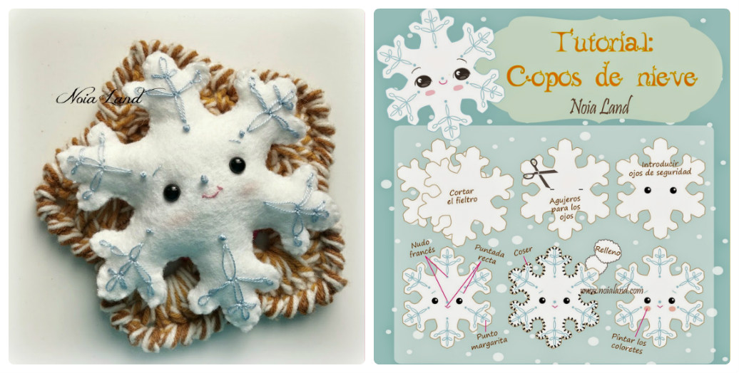 Елочные игрушки из фетра Снежинка: МК + выкройка