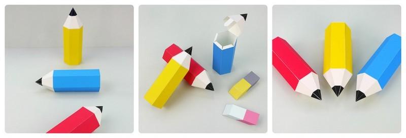 "Коробочка для подарка своими руками из бумаги ""Карандаш"". Схема"