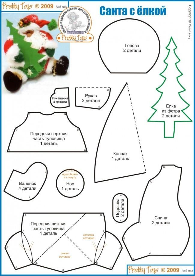 Дед мороз своими руками из ткани выкройка