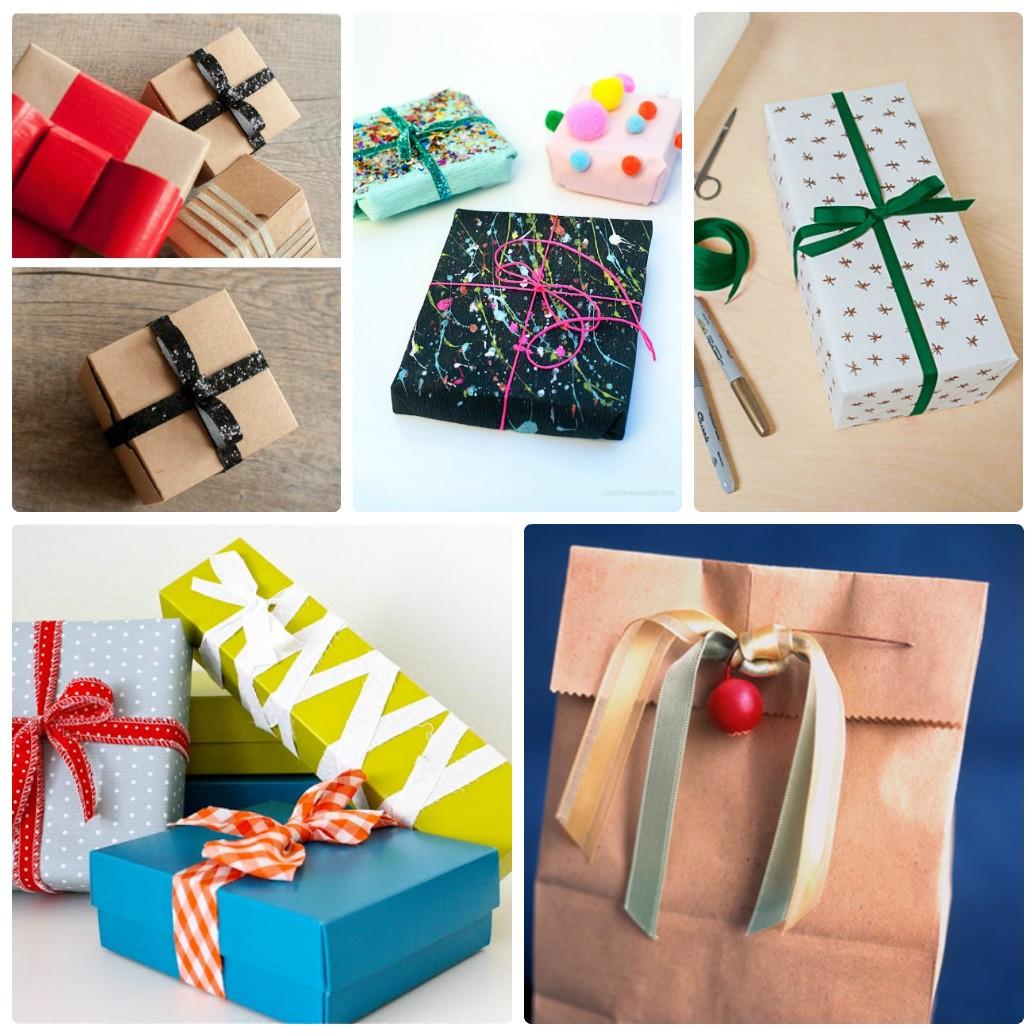 Новогодняя упаковка подарков с помощью лент и бантов