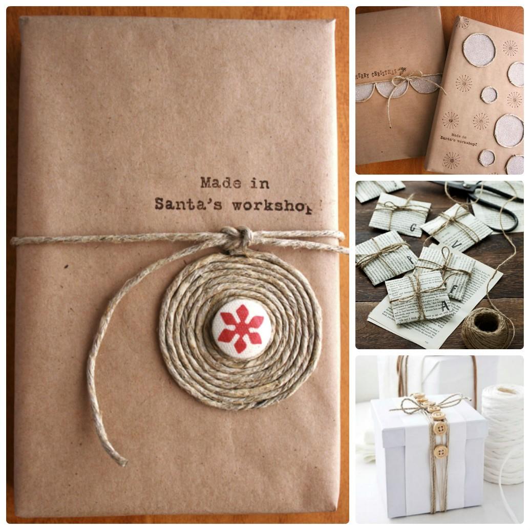 Новогодняя упаковка, декорированная веревкой