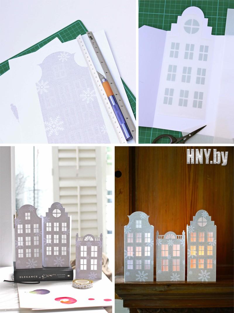 Новогодние домики из бумаги в датском стиле: готовая схема для вырезания