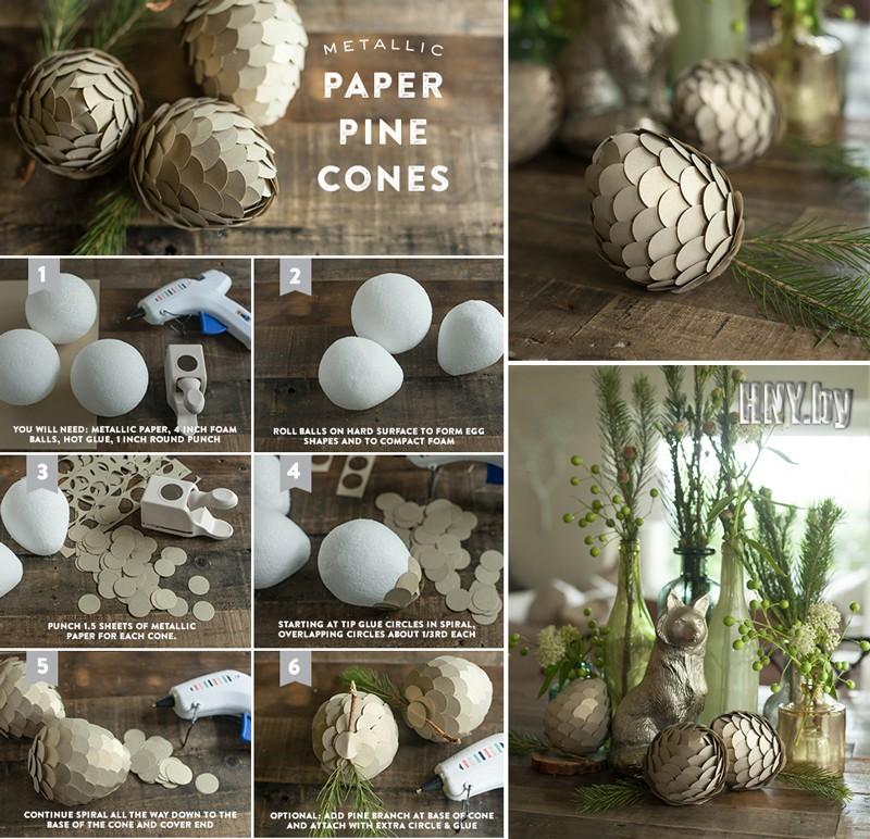 Декорируем квартиру шишками: новогодние поделки из бумаги своими руками. Схема
