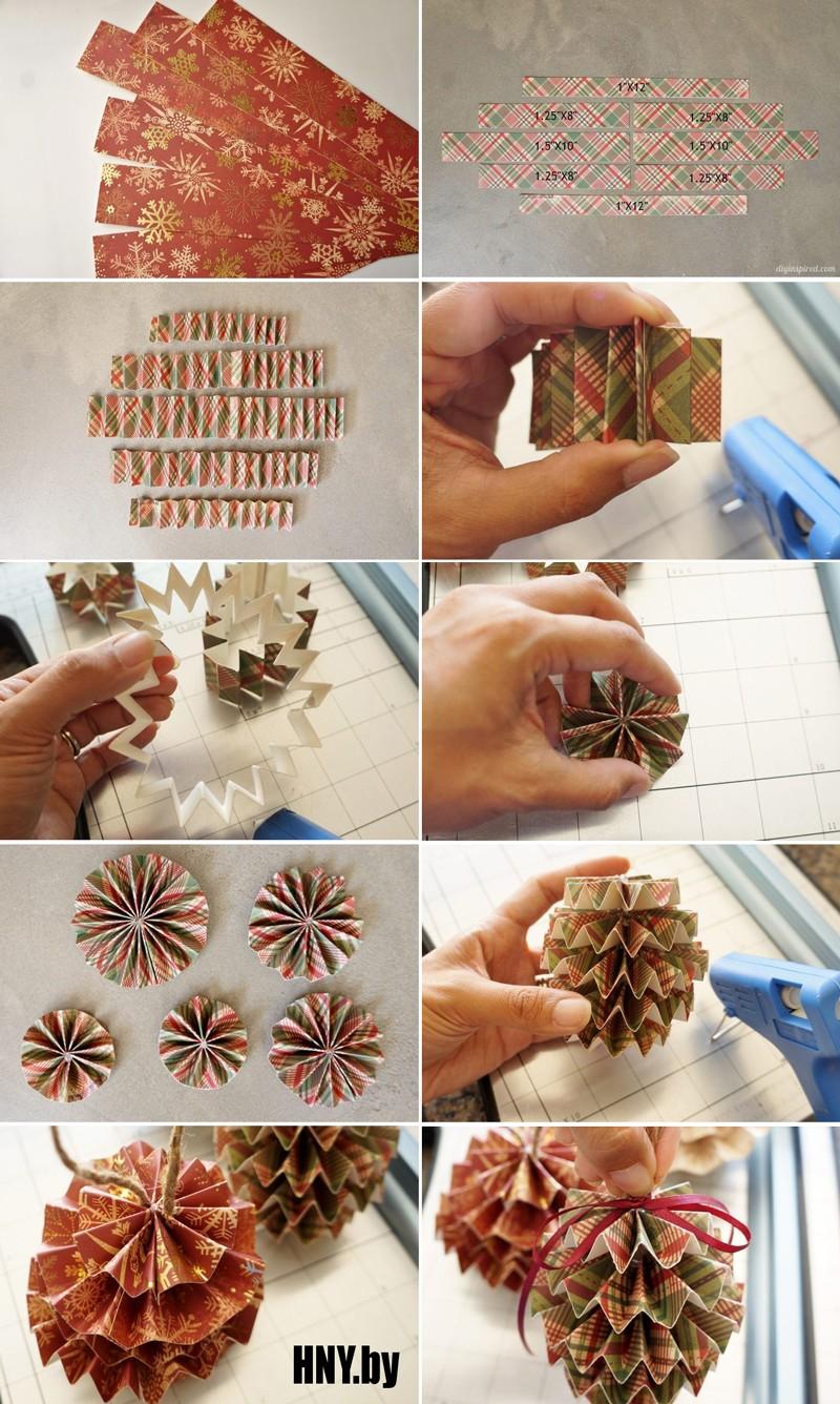 Елочный шар в японском стиле: украшаем новогоднюю елку поделками из бумаги