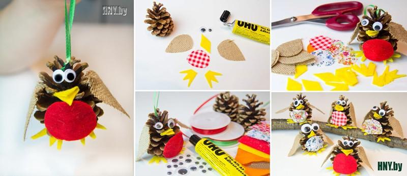 Продолжаем делать птиц из шишек: новогодняя поделка