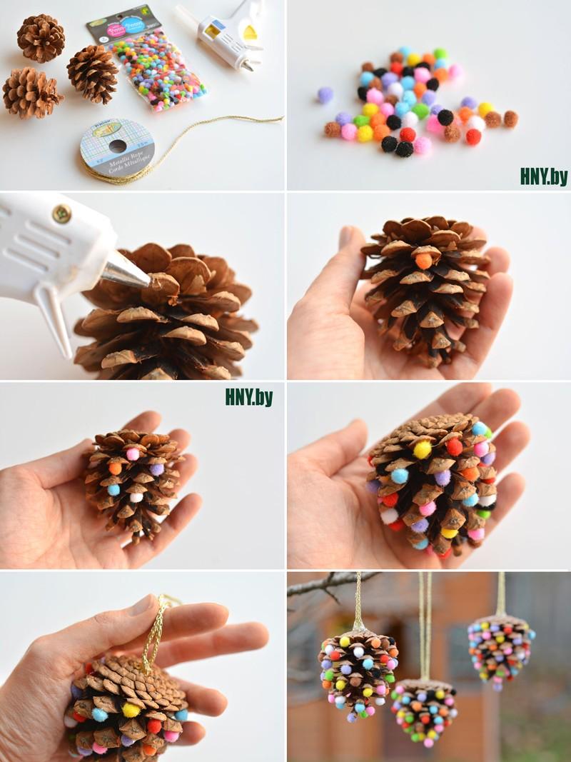 Елочные игрушки из шишек: делаем новогодние поделки своими руками