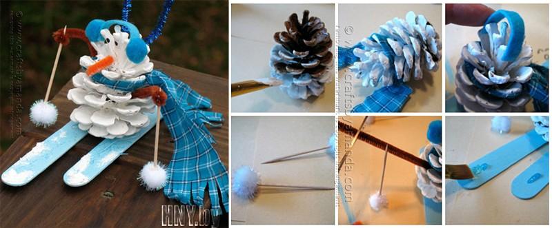Поделки из шишек к Новому году: делаем снеговика своими руками