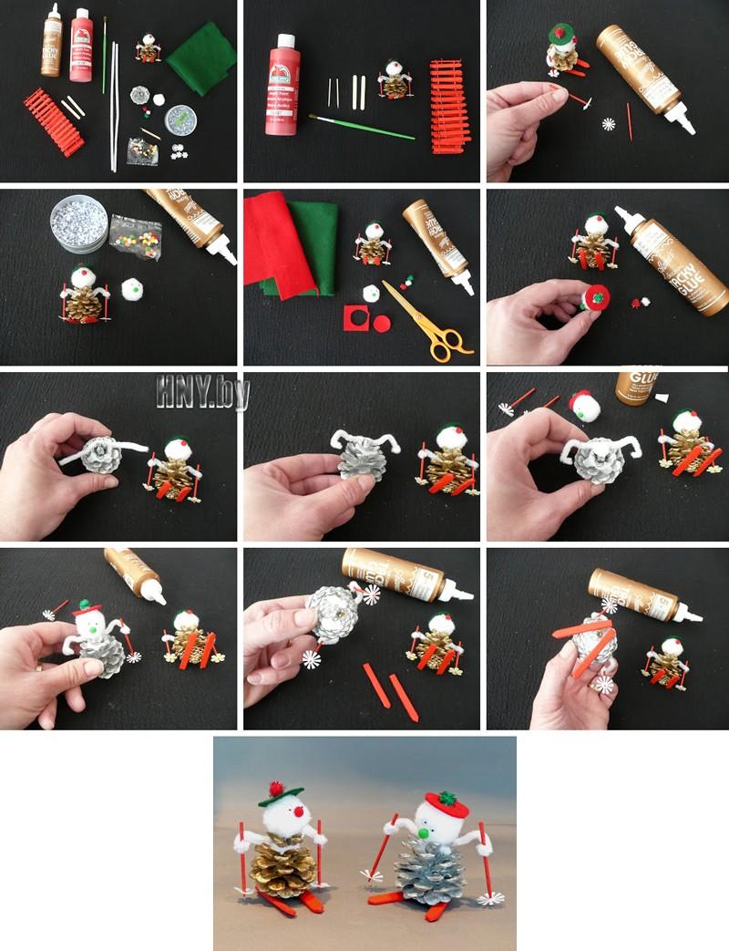 Новогодние поделки из шишек: схема снеговика своими руками