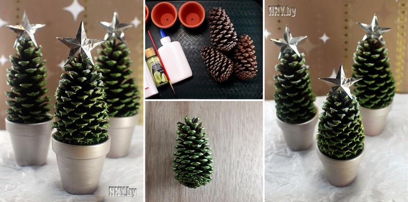 Миниатюрные елочки своими руками: новогодние поделки из шишек
