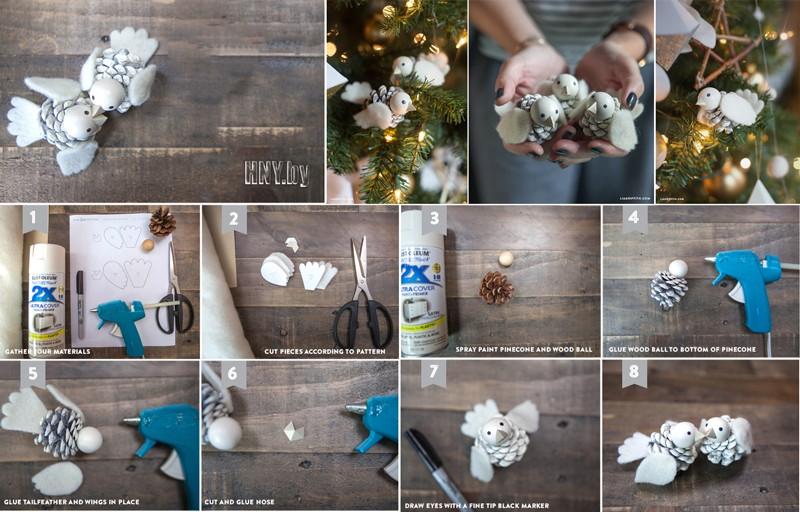 Поделки из шишек к Новому году: мастер класс по изготовлению птичек из шишек и фетра